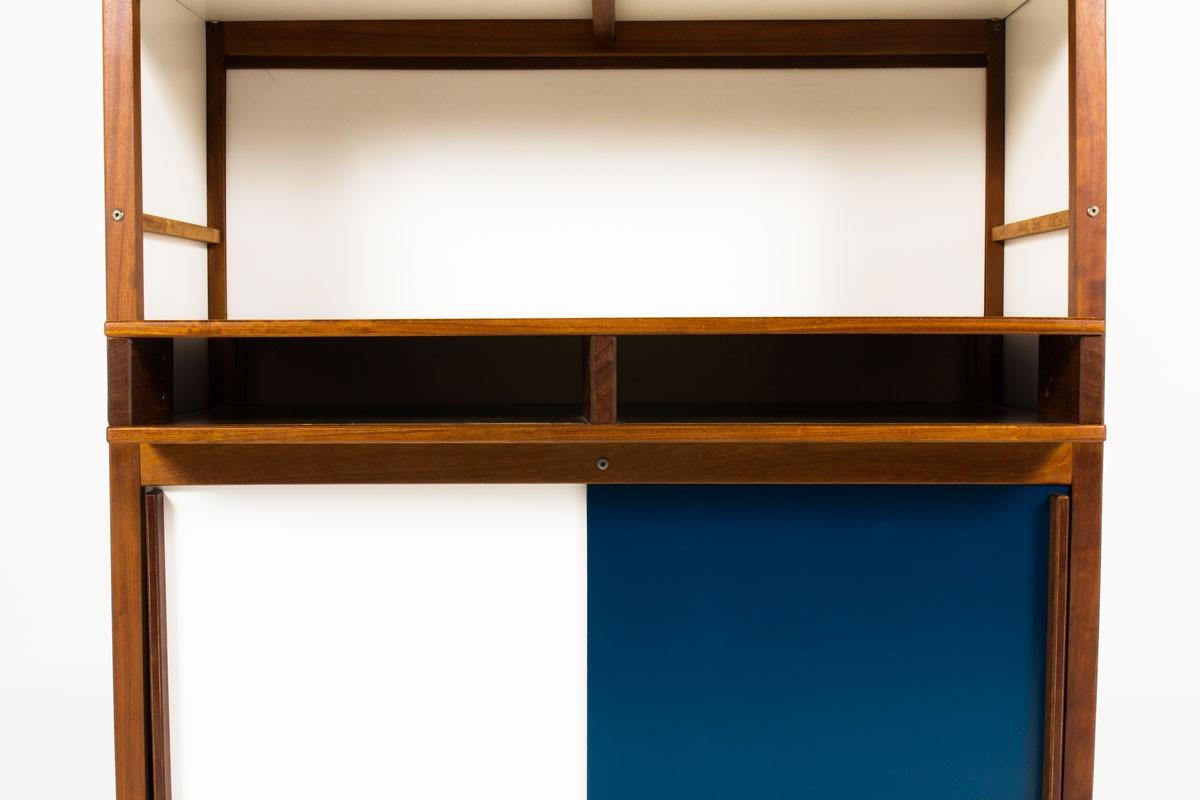 Meuble André Sornay 4 portes acajou laque blanche et bleue canard 1960