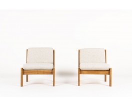 Andre Sornay low chairs in mahogany and fabric 1960 set of 2