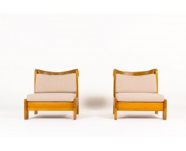 Low chairs in pine brown leather and beige linen fabric 1950 set of 2