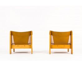 Chauffeuses pin cuir marron et lin beige 1950 set de 2