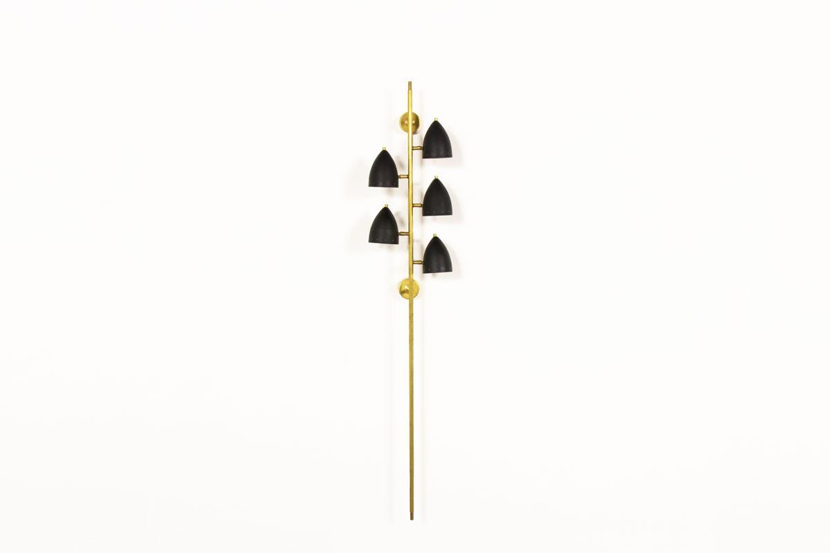 Applique modèle Torche en laiton et réflecteurs noir design contemporain italien