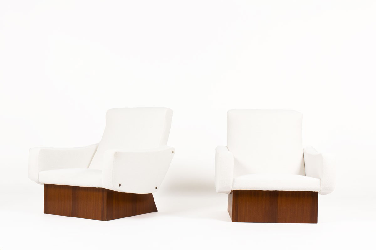 Armchairs in mahogany and beige fabric 1950 set of 2