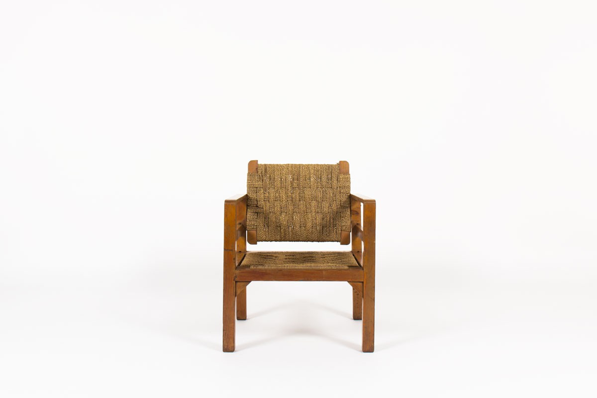 Armchair in rope and tinted pine 1950