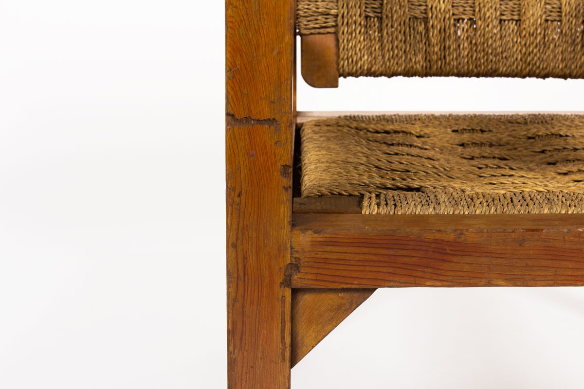 Fauteuil en corde tressée et pin teinté 1950