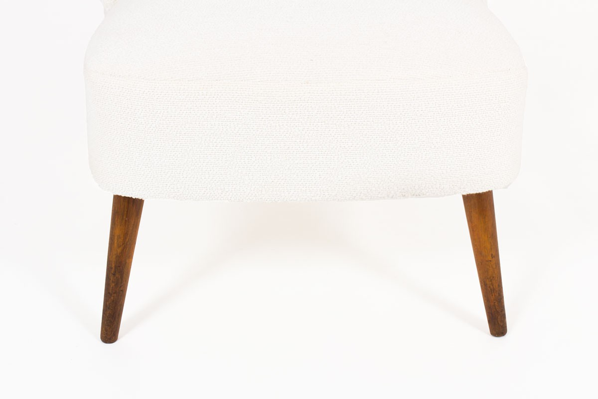 Armchairs in beech and beige fabric 1950 set of 2