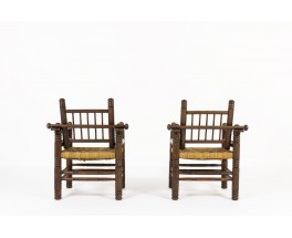 Armchairs in walnut and rope 1950 set of 2