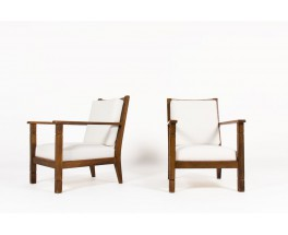 Armchairs in walnut and beige fabric reconstruction design 1950 set of 2