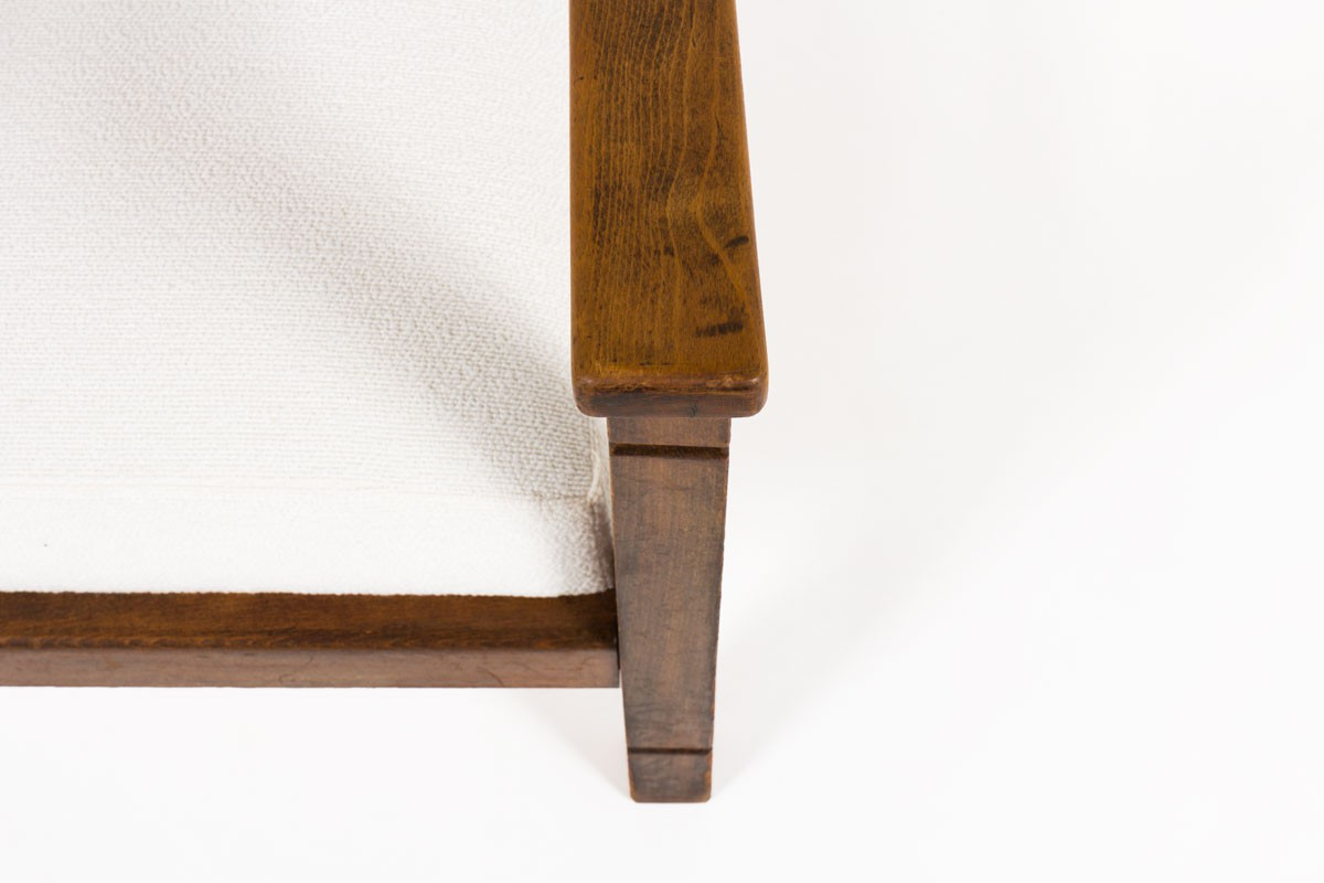 Fauteuils en noyer et tissu beige design reconstruction 1950 set de 2