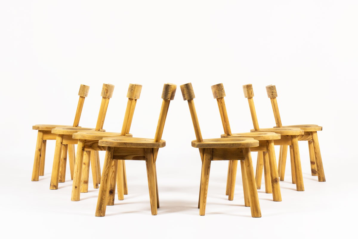 Rene Faublee chairs in pine 1950 set of 8