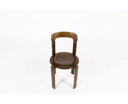 Bruno Rey stackable chairs in beech edition Dietiker 1970 set of 12