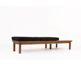 Daybed in oak and black linen fabric 1950