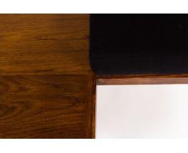 Banquette en chêne et tissu lin noir 1950