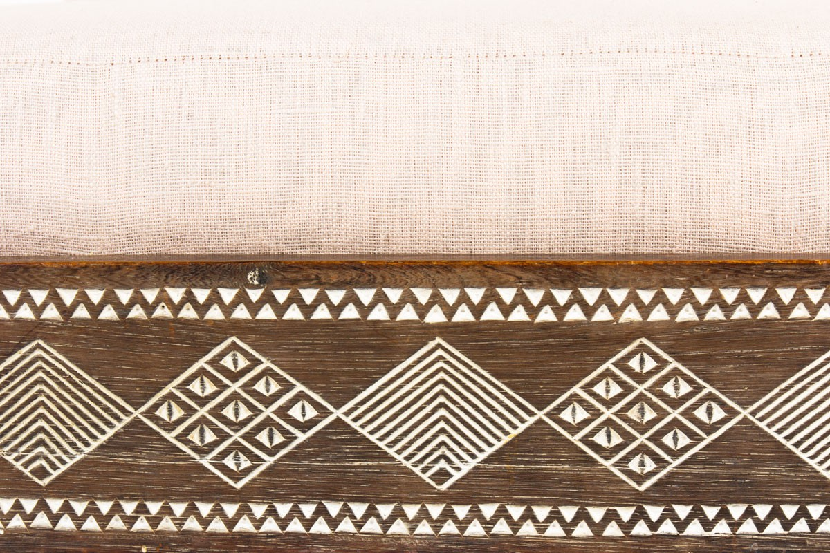 Low chair in dark wood and beige linen fabric African design 1950