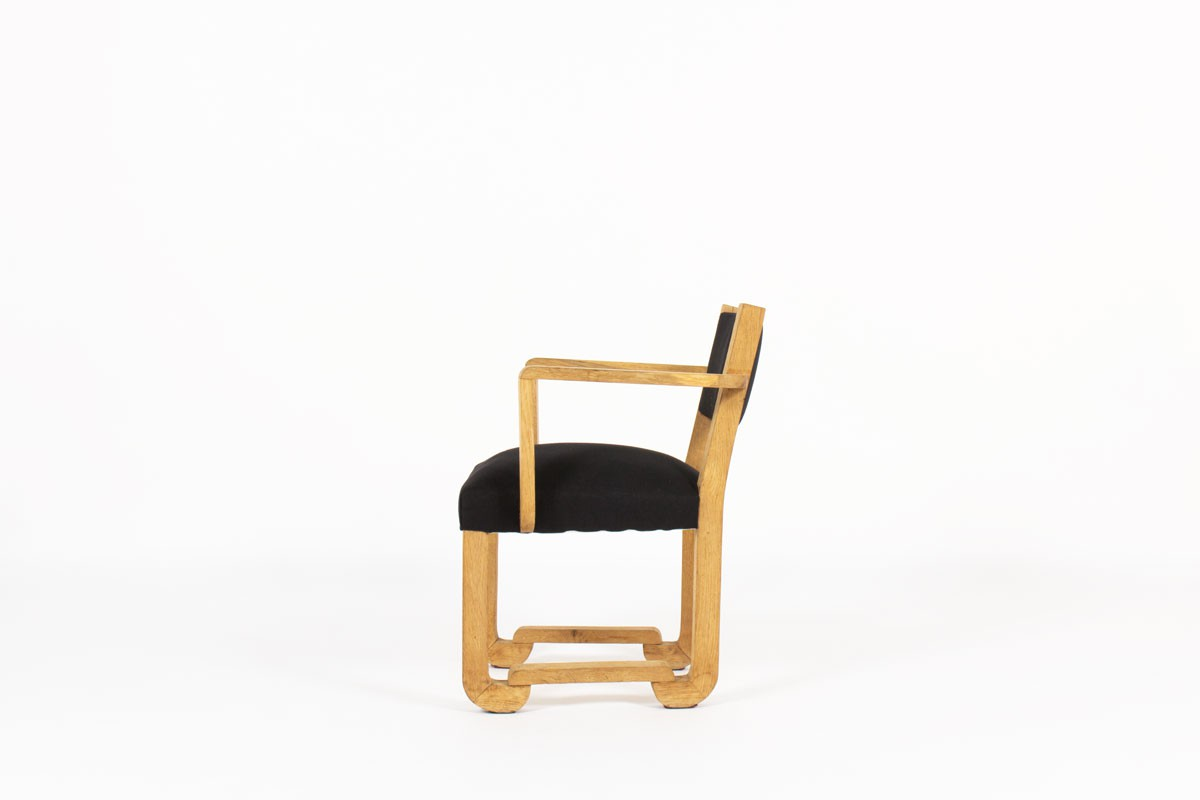 Francisque Chaleyssin armchair in raw oak and black linen fabric 1930