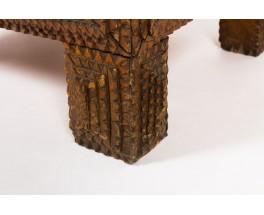 Cabinet in carved oak brutalist design 1950