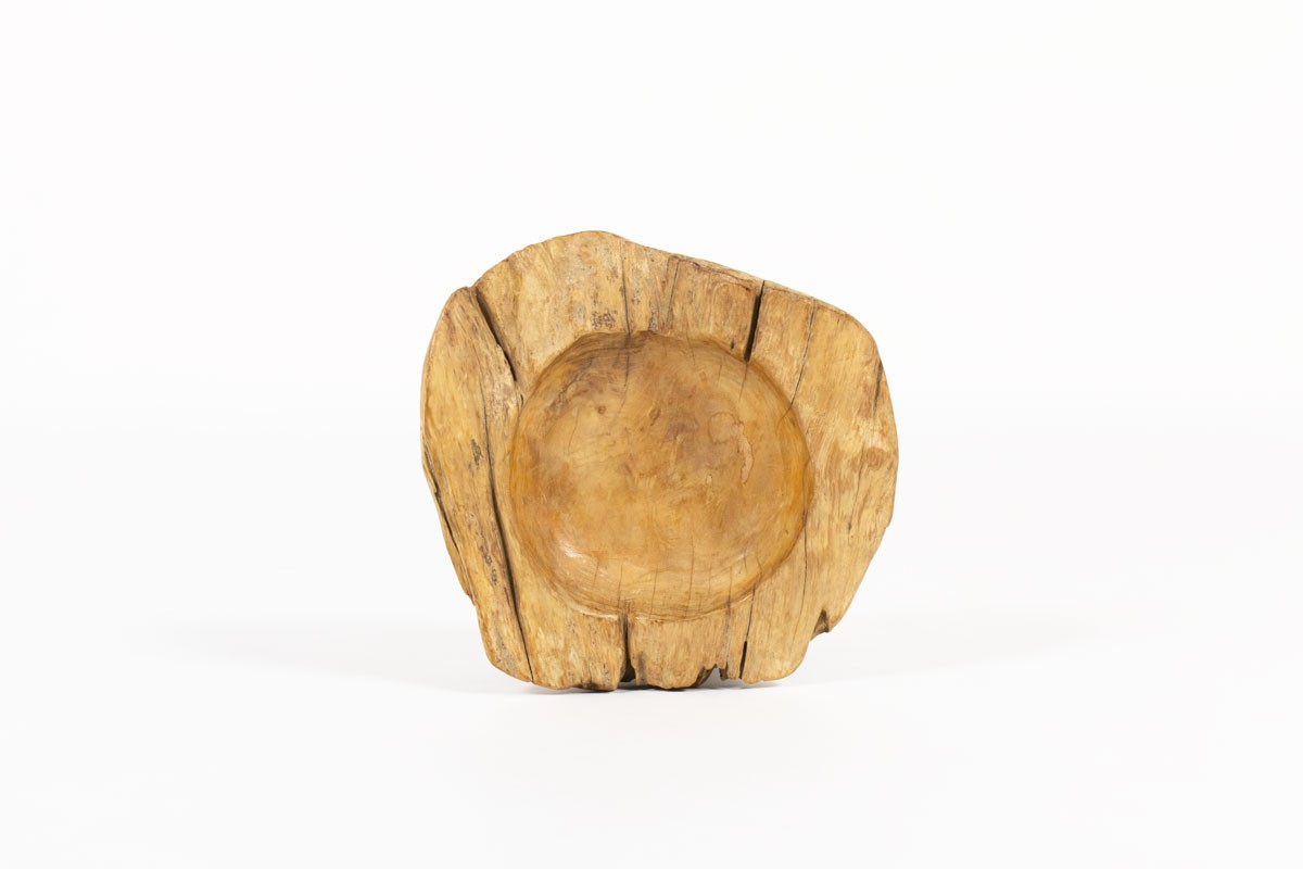 Trinket bowl in elm brutalist design 1950