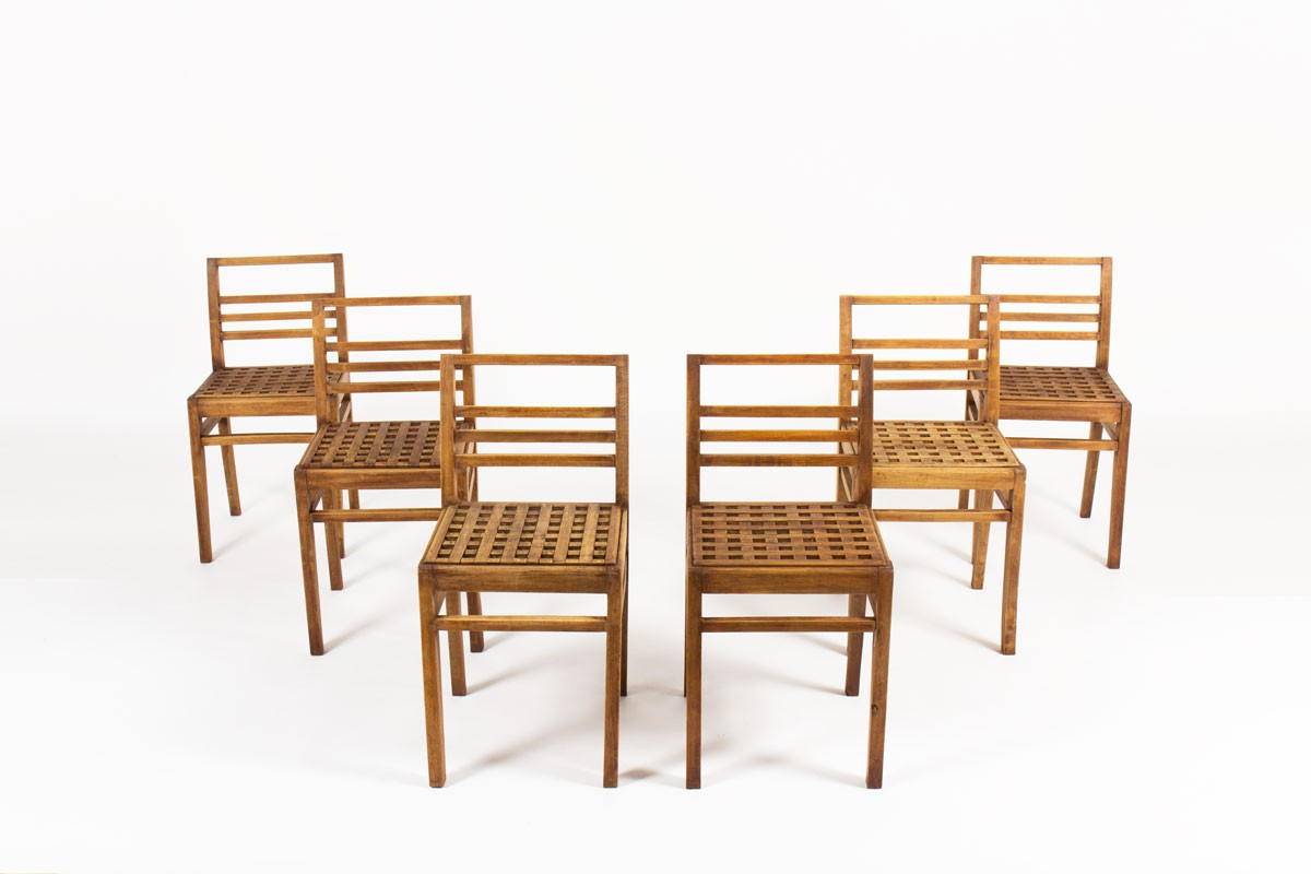 Rene Gabriel chairs model Caillebotis 1950 set of 6