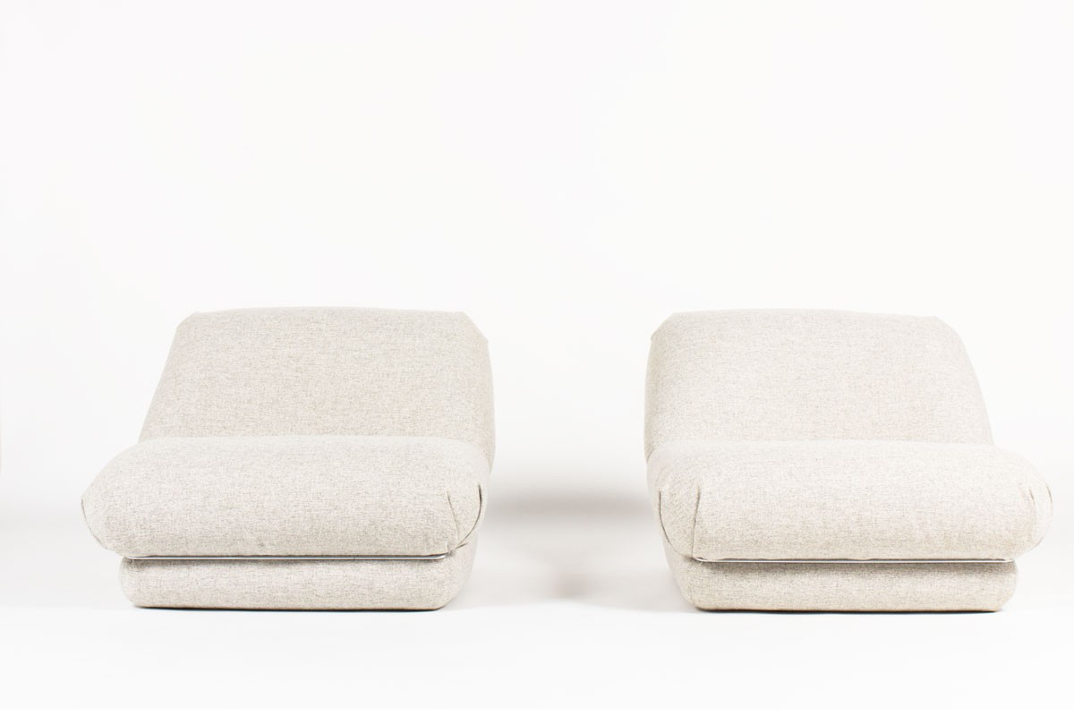 Low chairs with Snowy Fabric from Maison Thevenon 1970 set of 2