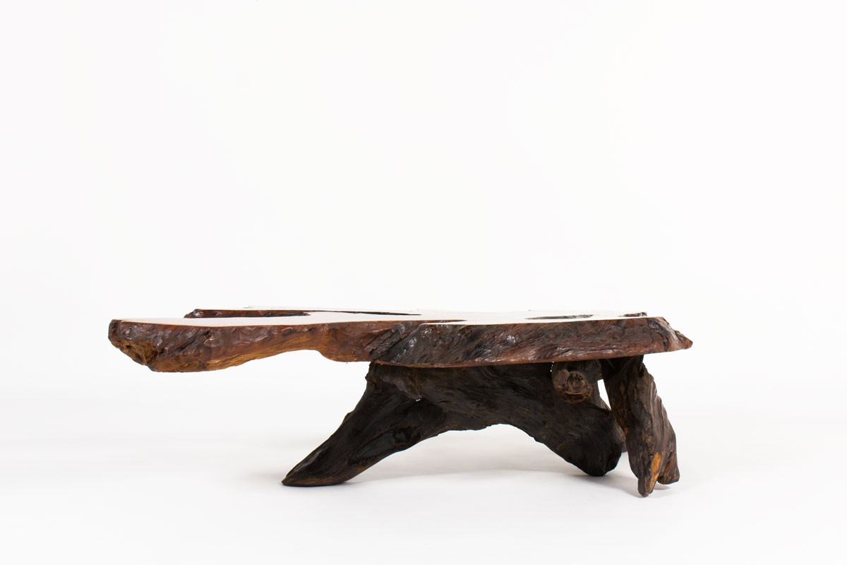 Coffee table in rosewood root brutalist design 1950