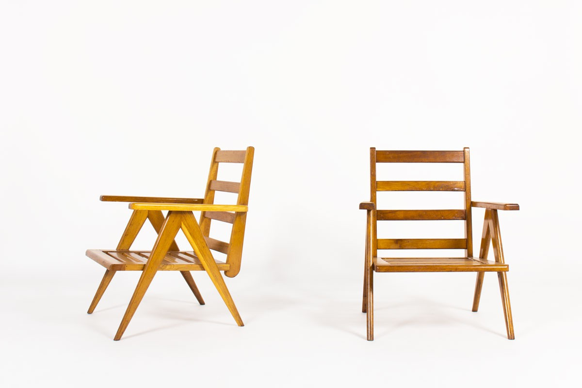 Armchairs in oak with slat 1950 set of 2