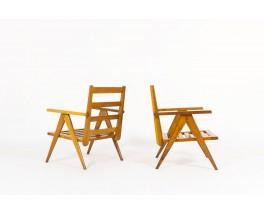 Armchairs in oak with slat 1950 set of 2