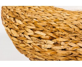 Armchair in braided banana leaves and Bouclette fabric from Maison Thevenon 1950
