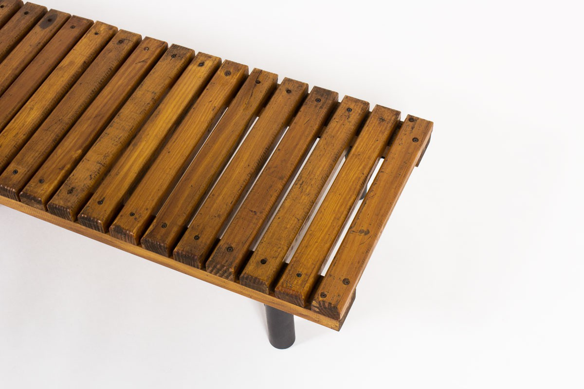 Bench in metal and ash slat 1950