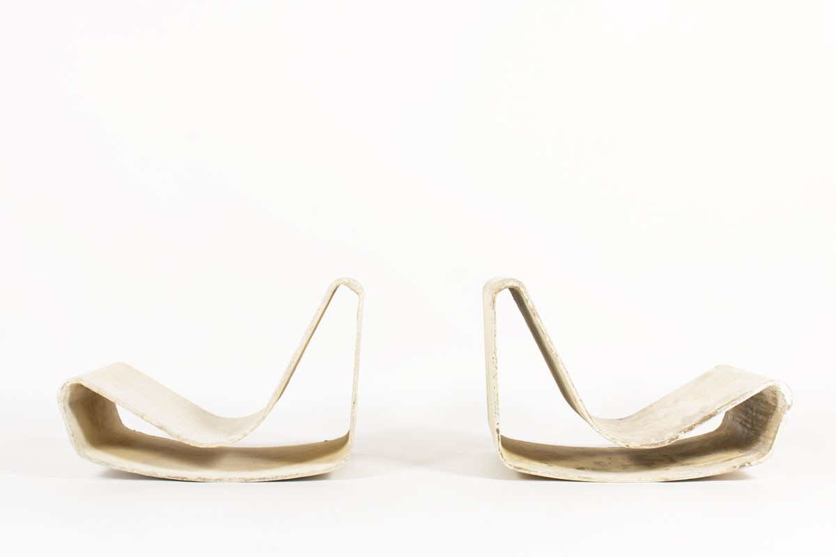 Fauteuils Willy Guhl modèle Loop édition Eternit 1950 set de 2