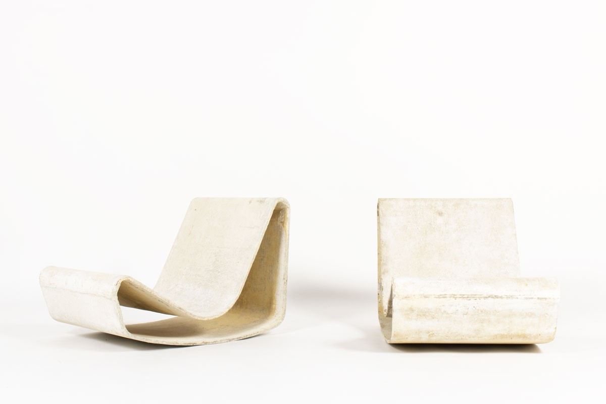 Willy Guhl armchairs model Loop edition Eternit 1950 set of 2