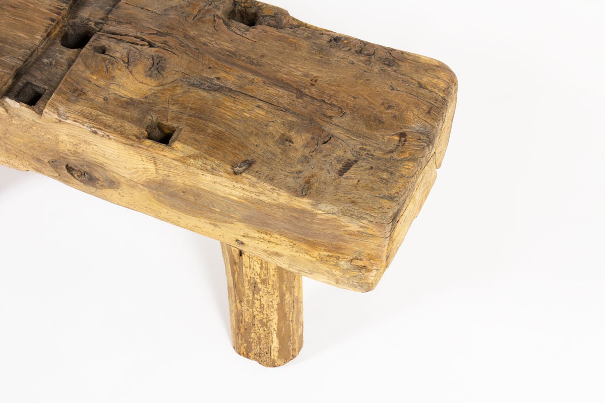 Bench in oak small model brutalist design 1950