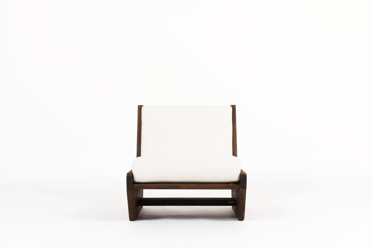 Rene Martin low chair model Ciseaux in pine Bouclette fabric from Maison Thevenon 1960