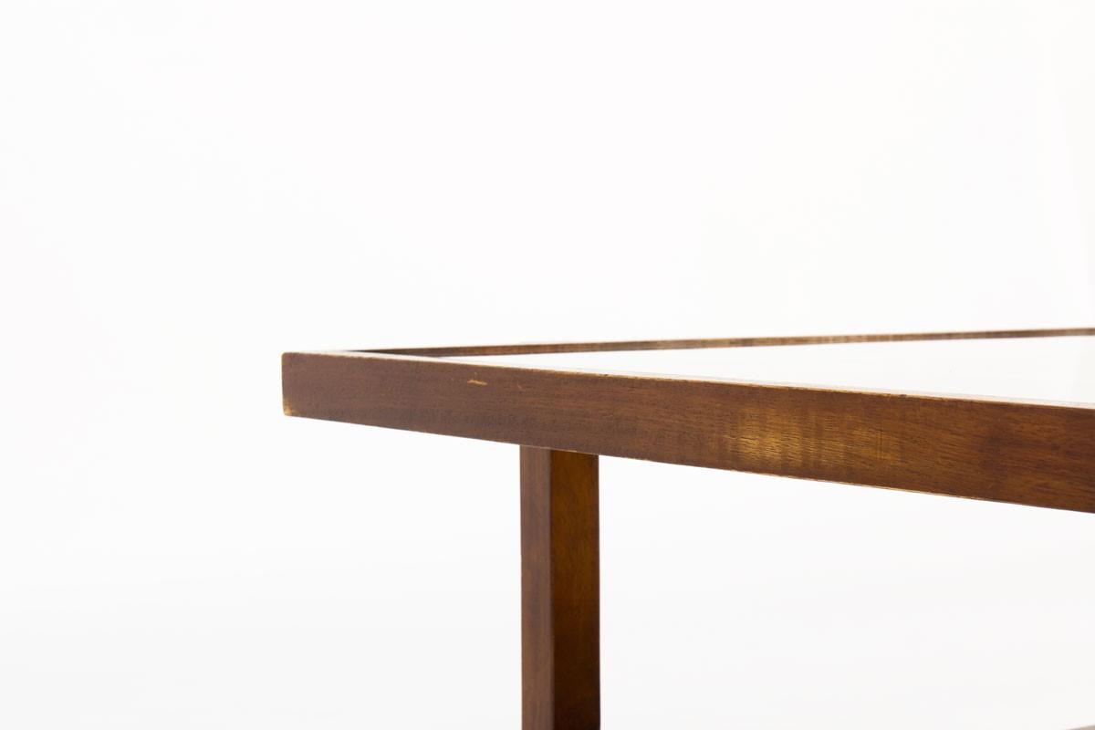 Table basse carrée hêtre et verre 1950