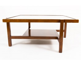 Square coffee table ash and glass top 1950