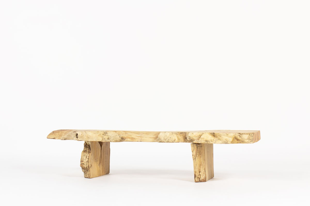 Bench large model in elm brutalist design 1950