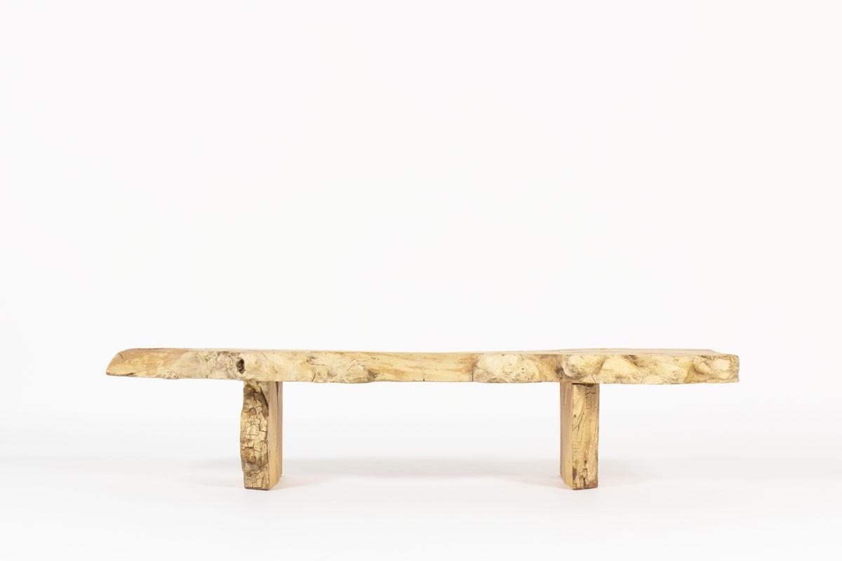 Bench large model in elm brutalist design 1950