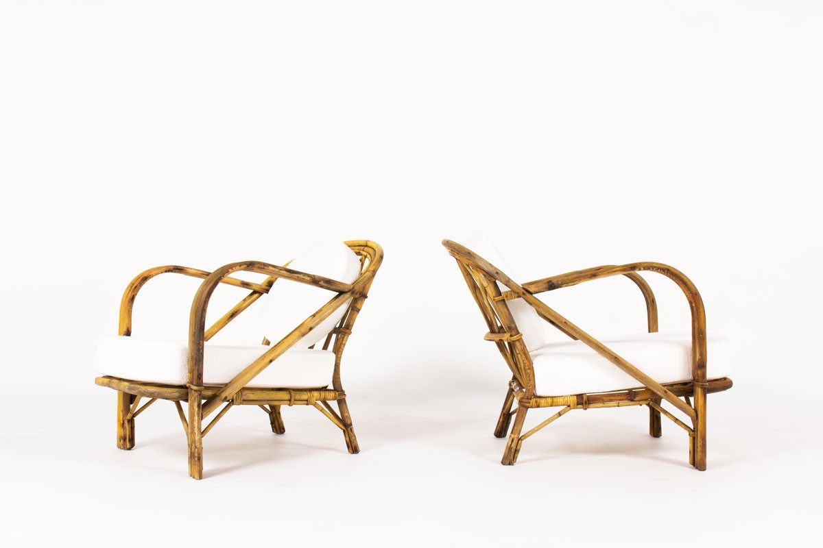 Audoux Minet low chairs in rattan and Maison Thevenon fabric 1950 set of 2