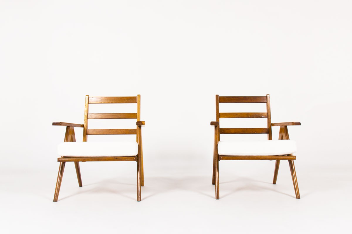 Armchairs in oak with slat and Maison Thevenon fabric 1950 set of 2