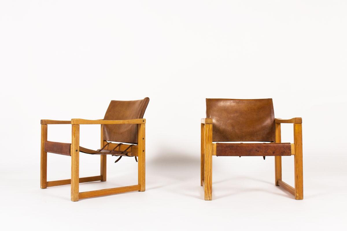 Fauteuils Karin Mobring en pin et cuir 1970 set de 2