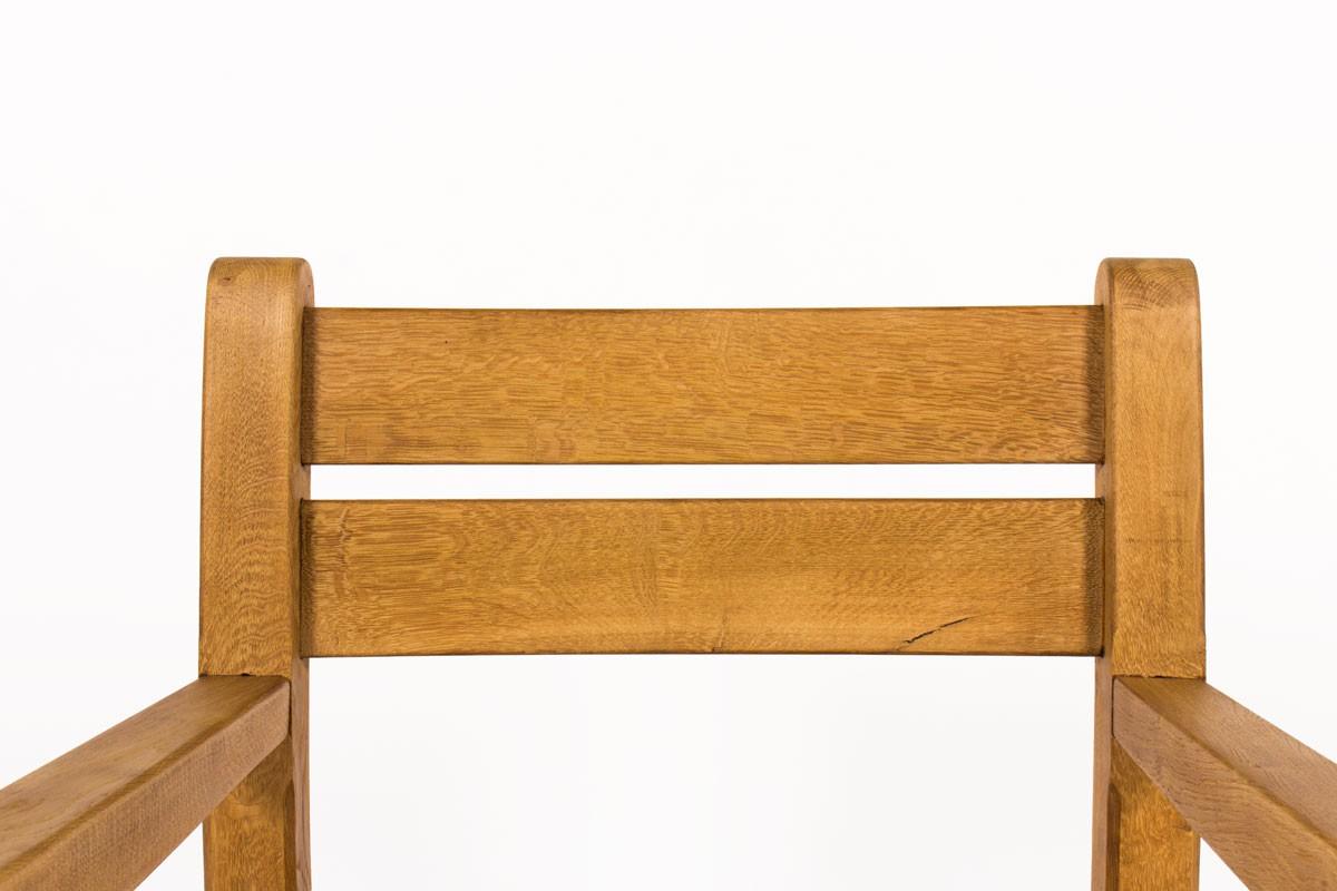 Fauteuils chêne clair et assise paille 1950 set de 2