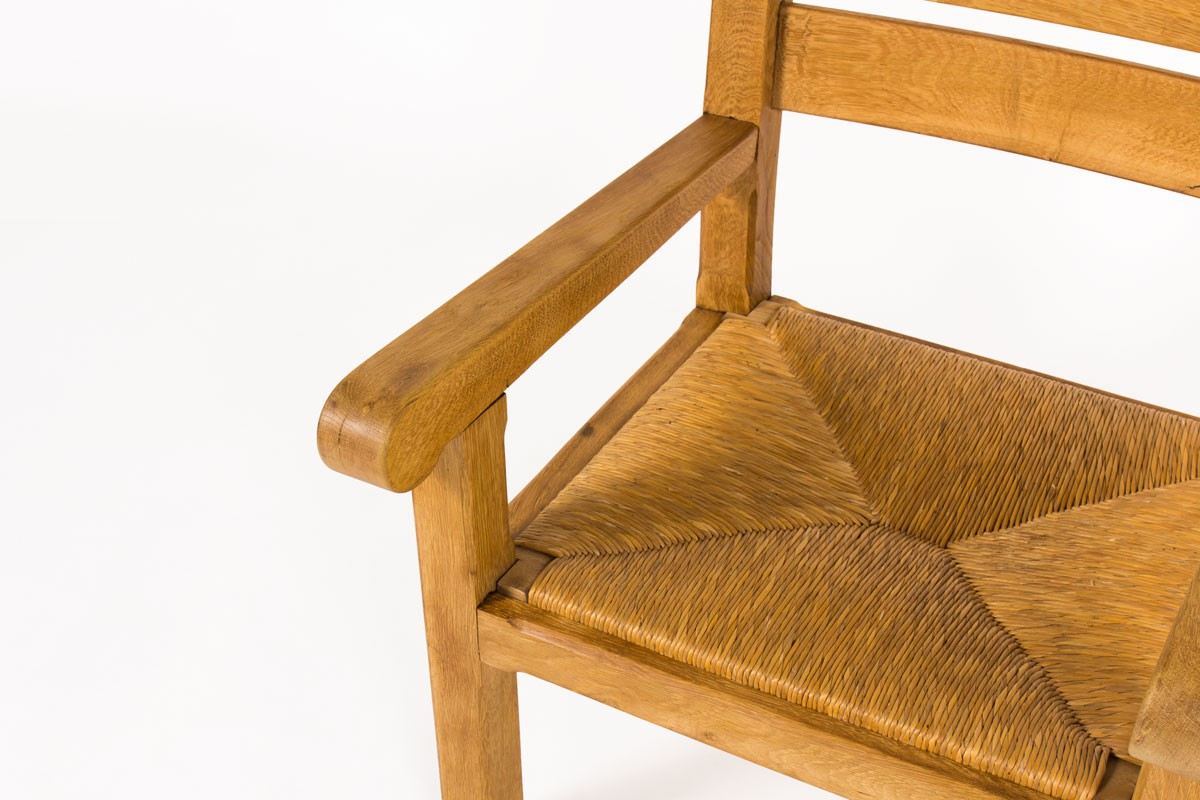 Armchairs in light oak and straw seat 1950 set of 2