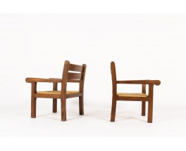 Armchairs in dark oak and straw seat 1950 set of 2