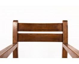 Fauteuils chêne foncé et assise paille 1950 set de 2