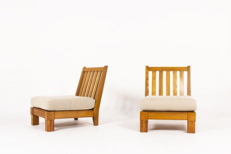 Armchairs in elm and linen fabric from Maison Thevenon 1950 set of 2
