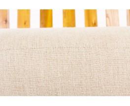 Fauteuils en orme et tissu lin beige Maison Thevenon 1950 set de 2