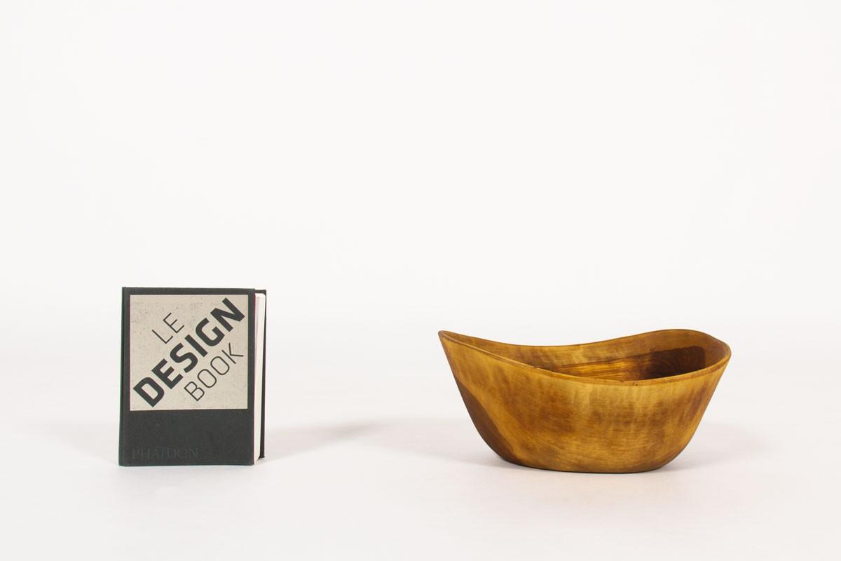Vide poche corbeille en olivier 1950