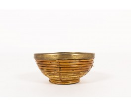 Fruit basket in rattan and brass 1950