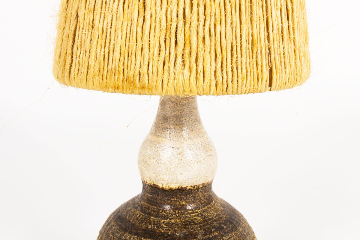 Georges Pelletier lamp in brown ceramic and rope lampshade 1960