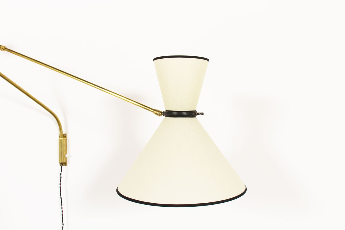 Wall light with brass counterweight and diabolo lampshade edition Lunel 1950