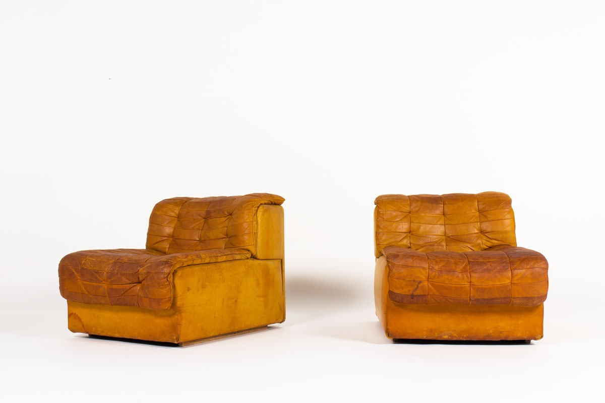Low chairs model DS11 in leather edition De Sede 1970 set of 2