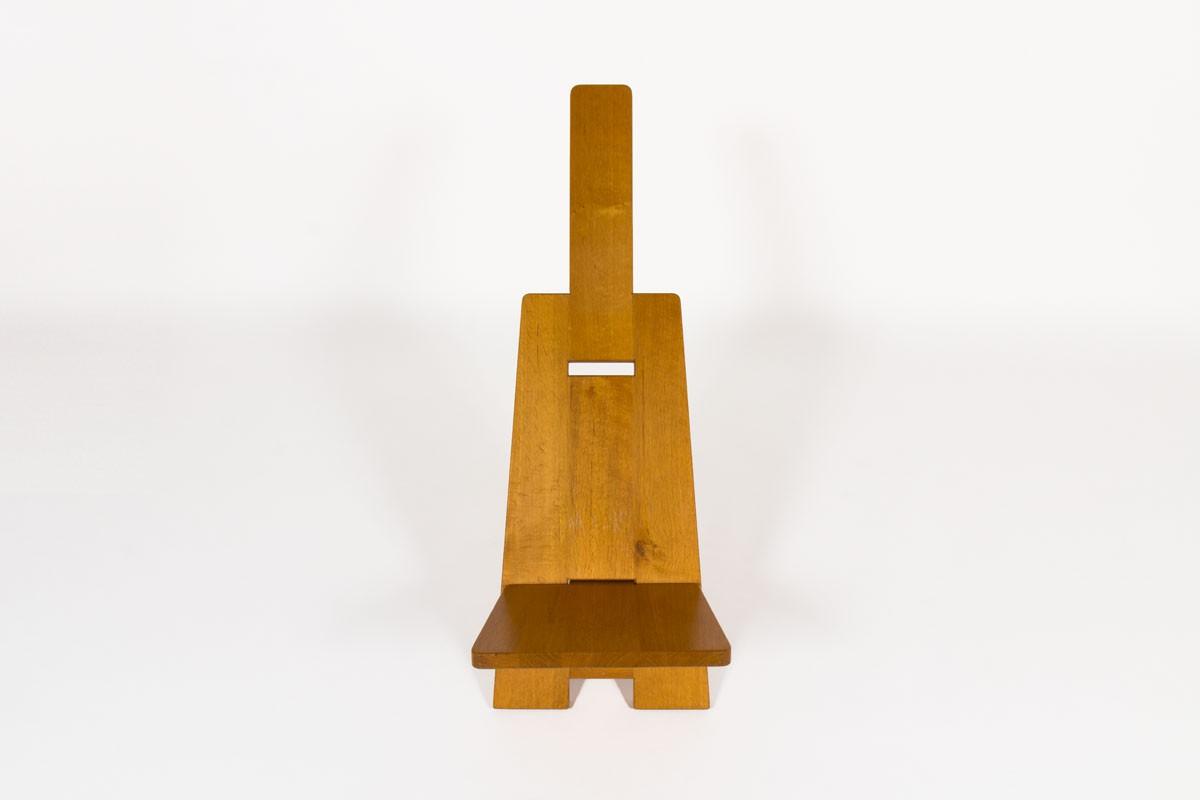 Alain Gaubert armchairs in oak 1980 set of 2